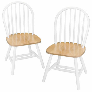 Fascinating Unique Styled Set of 2 Windsor Chairs by Winsome Woods