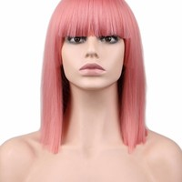 QQXCAIW Short Straight Cosplay Wig For Party Costume Red Blonde Blue Green Pink 40 Cm High Temperature Fiber Synthetic Hair Wigs