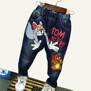 Kids Jeans Children Casual Pants 2-7yrs Boys Jeans Brand Children Clothing Autumn Baby Boys Girls Jeans Cartoon Cat and Mouse