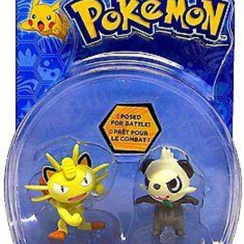 TOMY Pokemon Meowth and Pancham 2-Pack Action Pose Figure Set Authentic USA