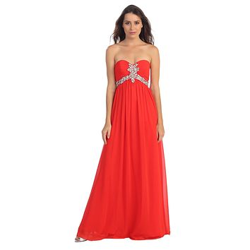 Pleated Strapless Studded Long Red A Line Prom Gown Empire Waist