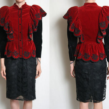 Roccobarocco Victorian Edwardian Blazer - Runway Fashion - Couture - Made in Italy - Victorian Jacket - Edwardian Jacket - Velvet Blazer