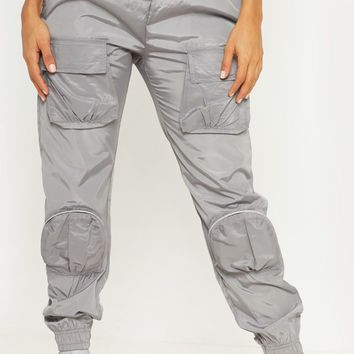 Silver Grey Shell 3D Pocket Detail Jogger