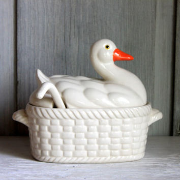 vintage soup tureen // duck or goose covered dish with ladle // fun farmhouse