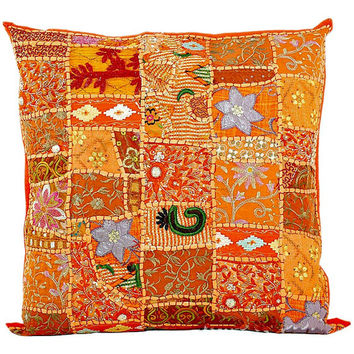 "20x20"" X Large Orange Cotton throw pillow for sofa Gypsy Decorative pillow for bed, Patchwork Pillow. Throw Pillow Sofa Pillow Toss Pillow"