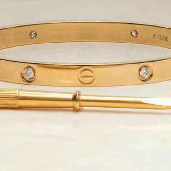Cartier Love Bracelet 18k Yellow Gold Size 18cm with 4 Diamonds.