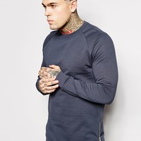 ASOS Longline Sweatshirt With Side Zips