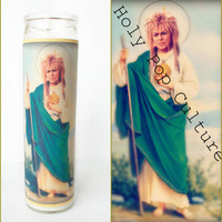 Saint Jareth Prayer Candle - Labyrinth David Bowie - Votive - Gag Gift - Christmas Idea
