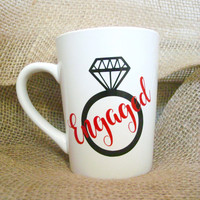 Engaged Cup, Engaged Mug, Bridal Gift, Diamond Ring, Engagement Ring, Coffee Cup, Coffee Mug, Engagement Gift, Wedding, Wedding Cup
