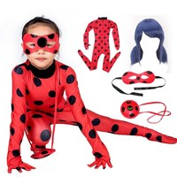 Cool Fantasia Spandex Lady bug Miraculous Bag Wig Eye Mask Cosplay Costume  Adult Children LadyBug Halloween Costumes for Kids GirlsAT_93_12