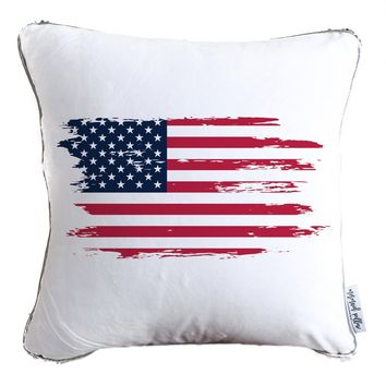 American Flag on White Velvet Throw Pillow w/ Reversible Silver & White Sequins - COVER ONLY (Inserts Sold Separately)