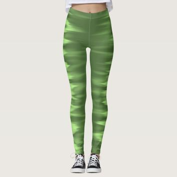 Electric green striped leggings