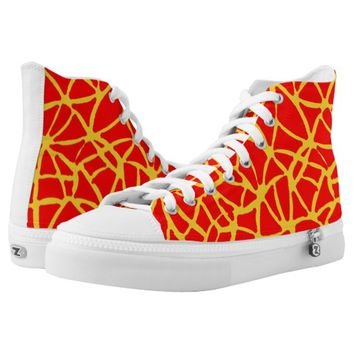yellow-red High-Top sneakers