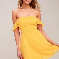 Dots of You Yellow Polka Dot Off-the-Shoulder Skater Dress