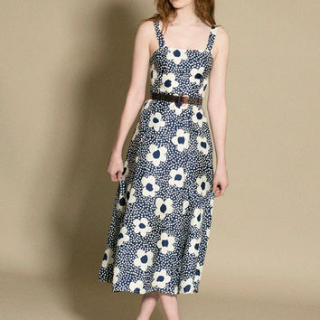 Maryam Nassir Zadeh - Navy Floral La Mola Dress | BONA DRAG