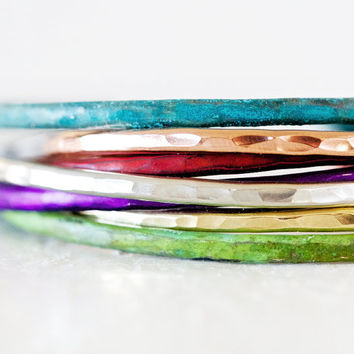 Stacking Bracelets - Moroccan Glow Skinnies - 7 in Red, Purple, Green, Blue, Rose, Silver, Gold Cuffs - Boho Chic - Patina