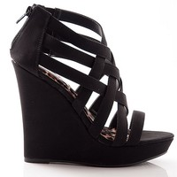 Qupid Treat Your Feet Strappy Criss Cross Platform Wedge Sandals - Black