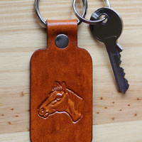 Horses Head Keychain, Leather Key Fob, Horse Key Chain, Horses Head Keyring, Tooled Leather Key Chain, Horses Head Key Fob,Choice Of Colours