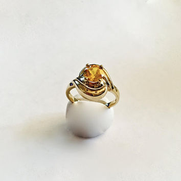 November Birthstone Ring,  Prong Set Yellow Orange Citrine in Swirl Design Setting,  Sterling Silver with Vermeil Finish - Approx Size 10