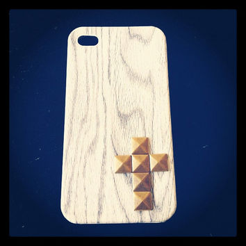 White Wash Wood Look Case with Mini Cross by LivingYoungDesigns