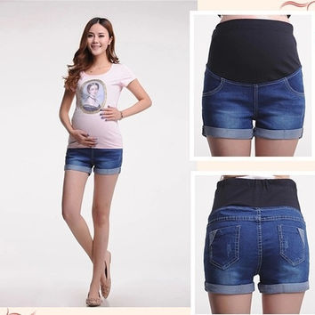 BB-TF11 New 2015 Shorts for Pregnant Women High Waist Denim Shorts Belly Shorts Maternity Shorts = 1930245380