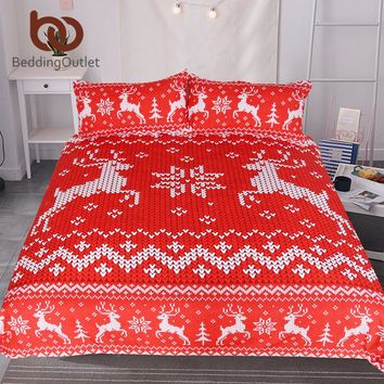 BeddingOutlet Christmas Bedding Set Red and White Elk Duvet Cover for Festival Moose Bedspreads Reindeer Knitting Print Bed Set