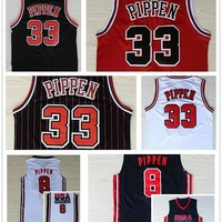 Retro 33 Scottie Pippen Jersey 1992 USA Dream Team 8 Scottie Pippen Basketball Jerseys Throwback Uniforms Home Red Black White Navy Blue