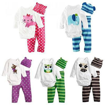 Baby Boys Girls Clothing Set 3pcs Long sleeve&hat&pants Hot Sale Lovely New Spring Clothes
