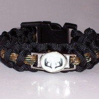 Hunters Camo Deer Antlers Paracord Bracelet Custom Made