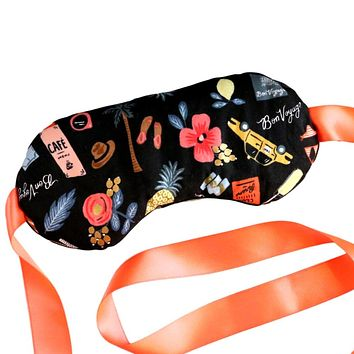 LAVENDER FILLED COTTON EYE MASK IN TRAVEL THEME