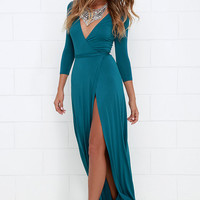 Garden District Teal Blue Wrap Maxi Dress