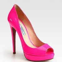 Patent Leather Peep Toe Pumps at ShopStyle