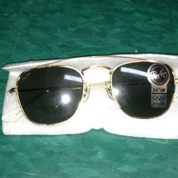 Kalete Aviators By B&L Ray Ban W1344 Caravan Arista Gold with Brace VINTAGE Sunglasses