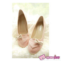 Pink/Beige J-fashion Heart with Bow Lady Shoes SP140339 sold by SpreePicky