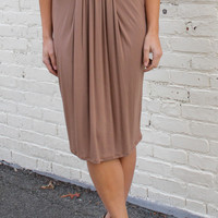 Office Crush Pleated Front Jersey Pencil Skirt - Camel