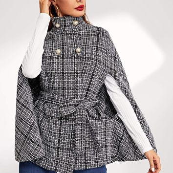 Double Breasted Front Tie Waist Tweed Cape Jacket