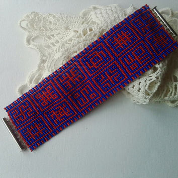 Geometric pattern Native Ukraine jewelry Wide beaded bracelet Beadwoven cuff Folk bracelet Loom beaded bracelet Colorful cuff Gift for her