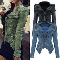 Cool Studded Shoulder Notched Lapel Denim Jacket Jeans Tuxedo New Winter/autumn Coat Blazer