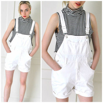 white denim SHORTALLS early 90s grunge vintage OVERALLS white jean DUNGAREES bibs small medium