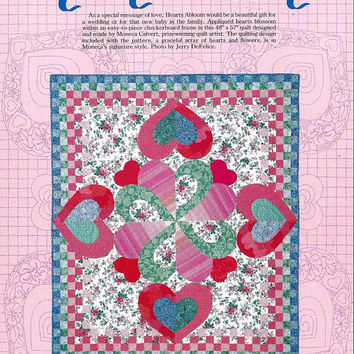 Hearts Abloom Applique Quilt Pattern from Leman Publications, From 1991, UNCUT, Vintage Pattern, Home Quilting Decor, Moneca Calvert, Design