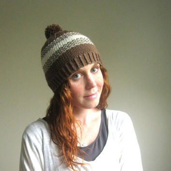 Fair Isle Brown and Cream Knit Pompom Hat - Brown Knit Hat - Knit Pompom Beanie in Brown - Soft Wool Blend Handmade Hat for Women