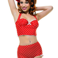 Red & White Polka Dot Lindy Swim Bustier - Unique Vintage - Prom dresses, retro dresses, retro swimsuits.