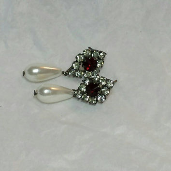 Earrings Stone Red Rhinestone silver Long Faceted Teardrop  Dangle  Accent  Rhinestones pearl