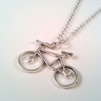 Silver Bike Necklace, Yoga Jewelry, Layering necklace, mother, wife, sister, daughter, Yoga Necklace, layered,  wedding jewelry