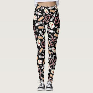 Nurse Love Print Black Background Leggings