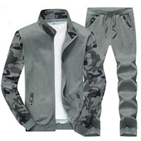 Men Sport Suits Keep Warm Clothing Gym Sportswear Knitted Fabric 3D Camouflage Sleeves Mens Sportsuit Running Jogging Sets