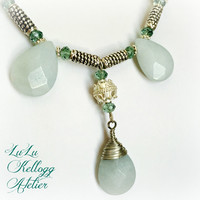Large Amazonite Mermaid Beach Necklace with Swarovski Crystals