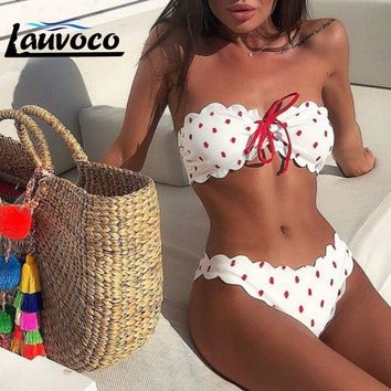 New Bikini 2019 Women's Swimsuits Sexy Women Wave Point Push Up Padded Bra Beach Bikini Set Swimsuit Lace Up Strapless Swimwear
