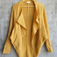 knitted batwing loose open cardigan sweater shawl - mustard