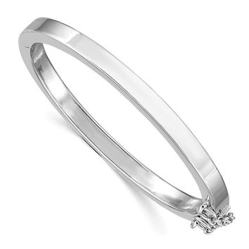 Sterling Silver Rhodium Plated Pol. w/Safety Hinged Child's Bangle